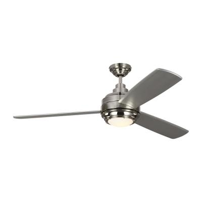 TOB by Thomas O'Brien Aerotour 56 in. Integrated LED Polished Nickel Ceiling Fan with Silver Blades and Light Kit