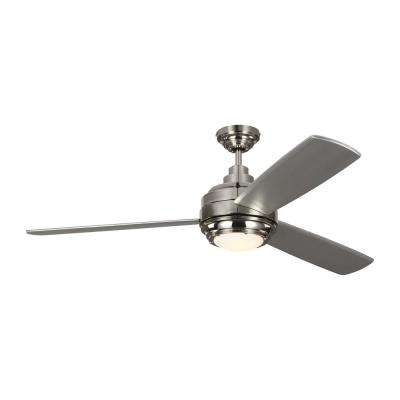 TOB by Thomas O'Brien for Aerotour 56 in. Integrated LED Polished Nickel Ceiling Fan with Light Kit