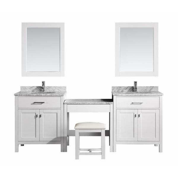 Design Element Two London 30 In W X 22 In D Vanity In White With Marble Vanity Top In Carrara White Mirror And Makeup Table Dec076e Wx2 Mut W The Home Depot