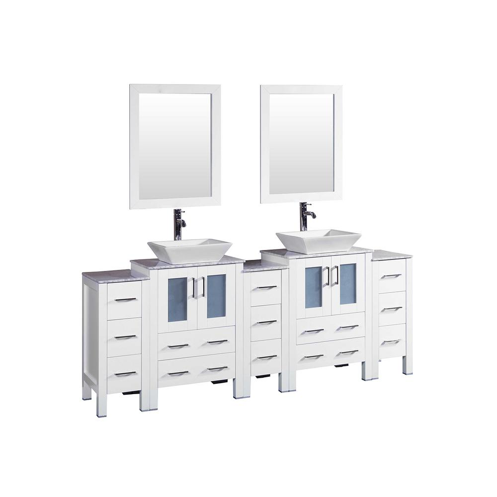 Bosconi 84 in. W Double Bath Vanity with Carrara Marble Vanity Top in Gray with White Basin and Mirror
