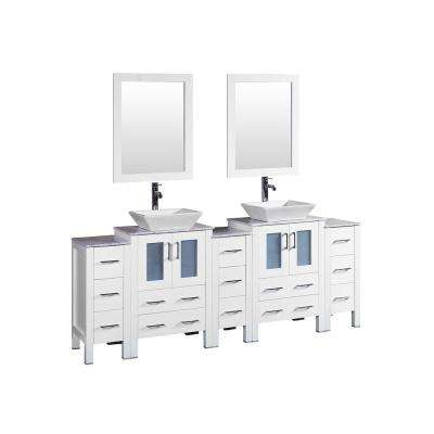 84 in. W Double Bath Vanity with Carrara Marble Vanity Top in Gray with White Basin and Mirror