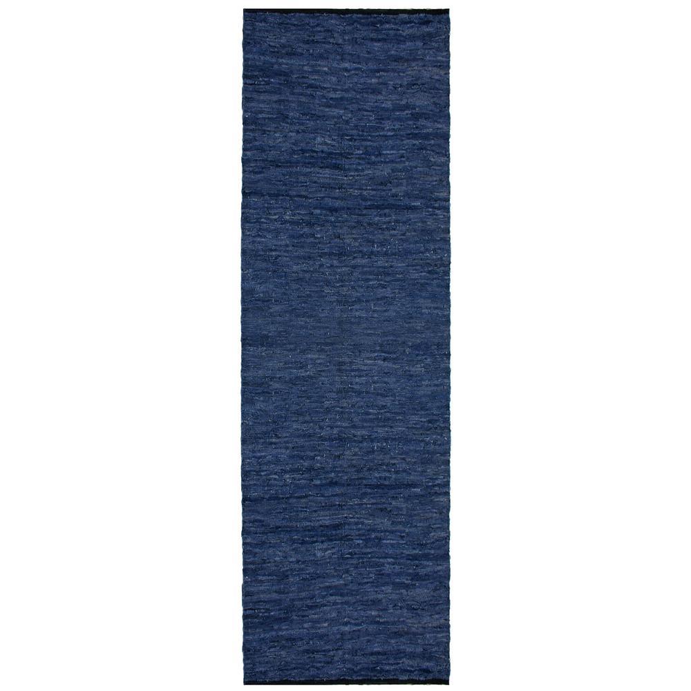 Leather Matador Blue 3 ft. x 14 ft. Runner Rug
