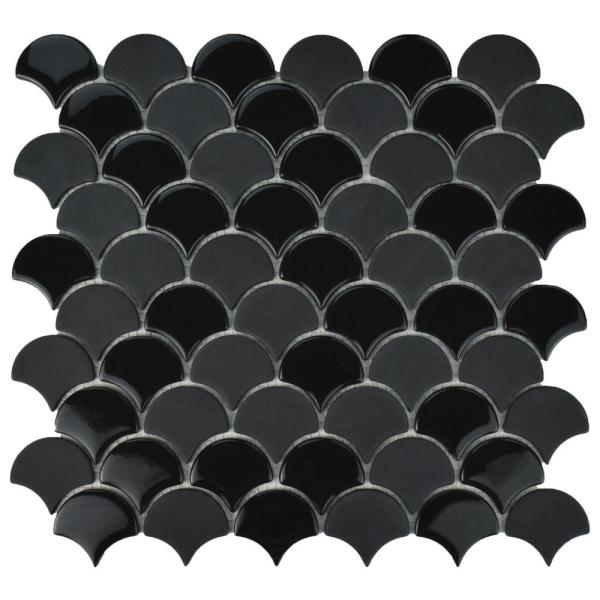 Expressions Scallop Black 11-1/4 in. x 12 in. x 7 mm Glass Mosaic Tile
