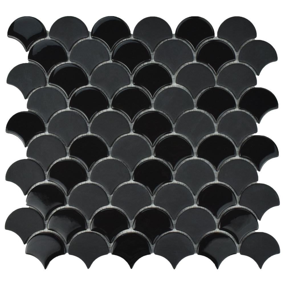 Expressions Scallop Black 11-1/4 in. x 12 in. x 7 mm