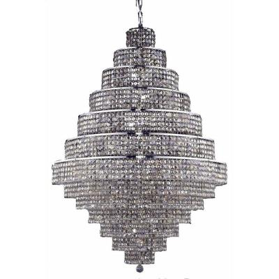 38-Light Chrome Chandelier with Golden Teak Smoky Crystal