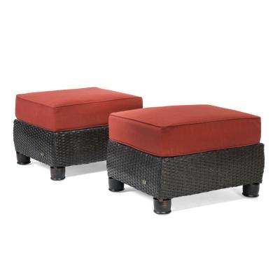 Breckenridge 2-Piece Wicker Outdoor Ottoman Set with Sunbrella Meredian Brick Cushion