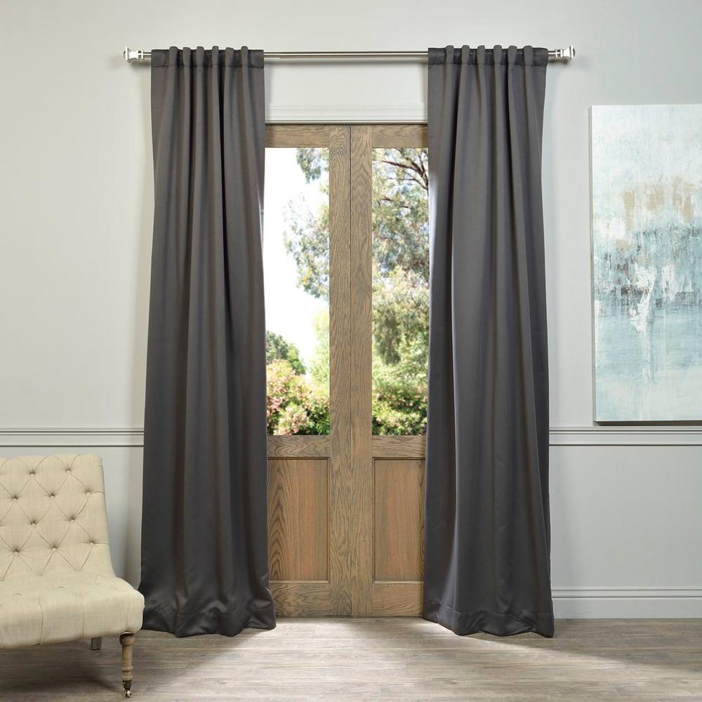 Exclusive Fabrics Furnishings Semi Opaque Anthracite Grey Blackout Curtain 50 In W