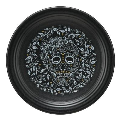 Black Skull and Vine Chop Plate