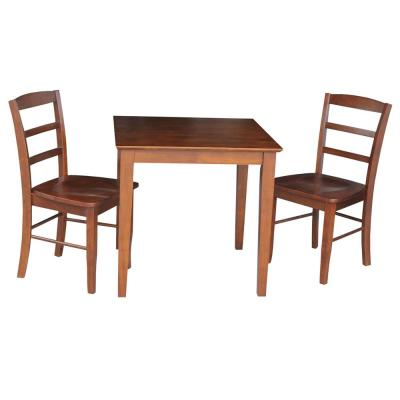 Emma 3-Piece 30 in. Espresso Square Solid Wood Dining Set with Madrid Chairs