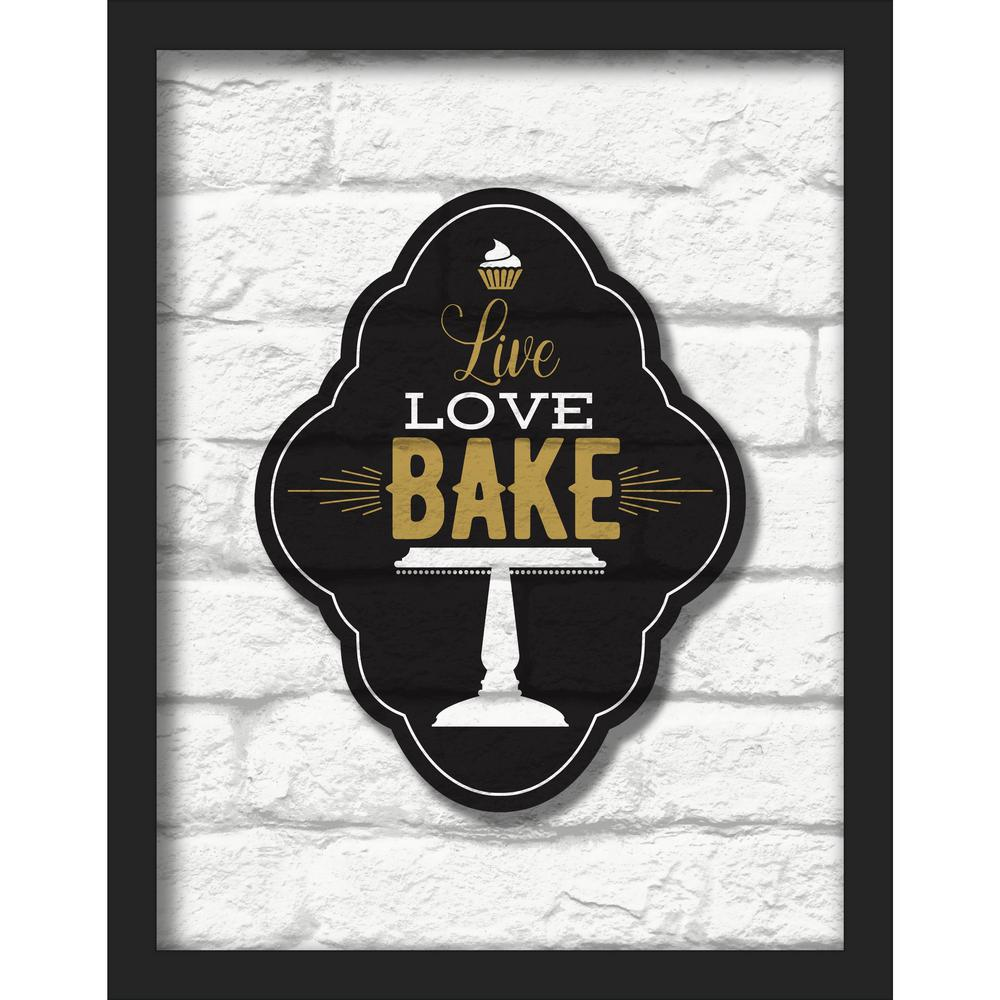 "11 in. x 14 in. ""Live Love Bake"" Shadowbox Wall Art"