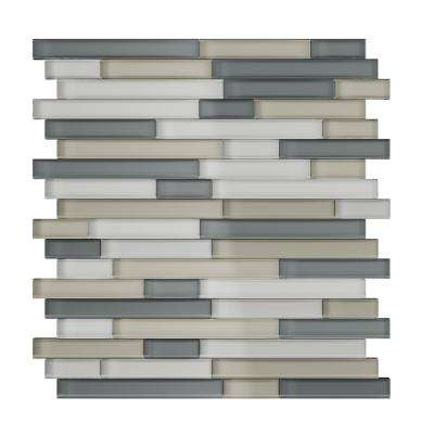 Placidity Mixed Grays 11.65 in. x 11.69 in. x 5 mm Self-Adhesive Wall Mosaic Tile (11.4 sq. ft. /case)
