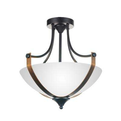 Solis 2-Light Brushed Golden Brown Flushmount