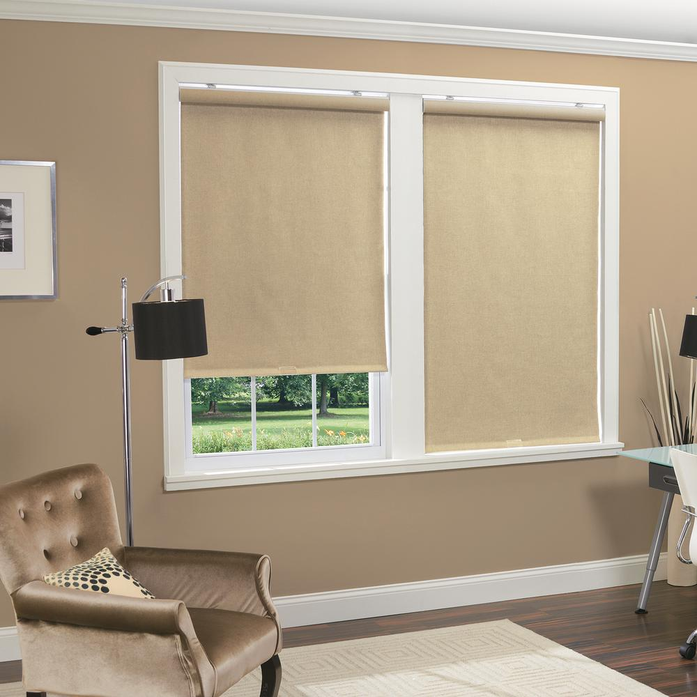 Home Basics Natural Linen Look Thermal Fabric Cordless Roller Shade 35 In W X 66 In