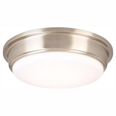 13 in. 180-Watt Equivalent Brushed Nickel Integrated LED Flush Mount with Frosted Acrylic Shade