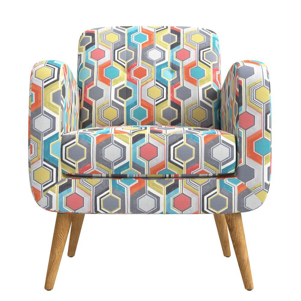 Kingston Orange Multi Beehive Print Mid Century Modern Arm Chair