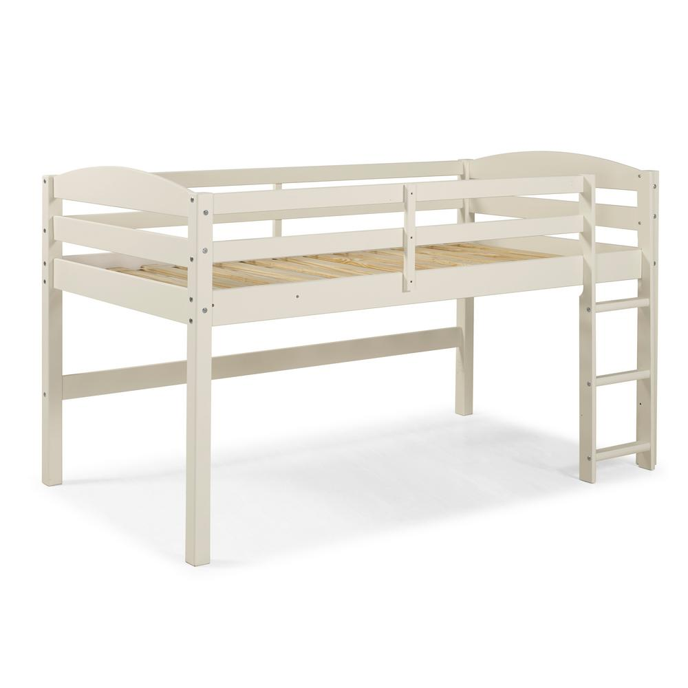 Walker Edison Wood Low Loft White Twin Bed Solid