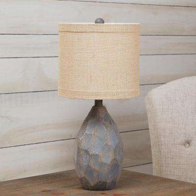 Mullins Rustic Stone 21.5 in. Antique Rust Table Lamp with Shade