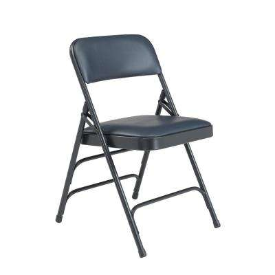 1300 Series Dark Midnight Blue Premium Vinyl Upholstered Triple Brace Double Hinge Folding Chair (4-Pack)