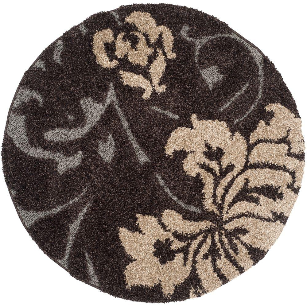 safavieh florida shag dark brown smoke 4 ft x 4 ft round area rug sg458 2879 4r the home depot. Black Bedroom Furniture Sets. Home Design Ideas