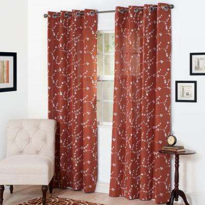 Semi-Opaque Inas Rust Polyester Grommet Curtain - 54 in. W x 108 in. L