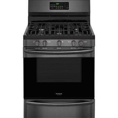 5.0 cu. ft. Gas Range with Convection Self-Cleaning Oven in Black Stainless Steel