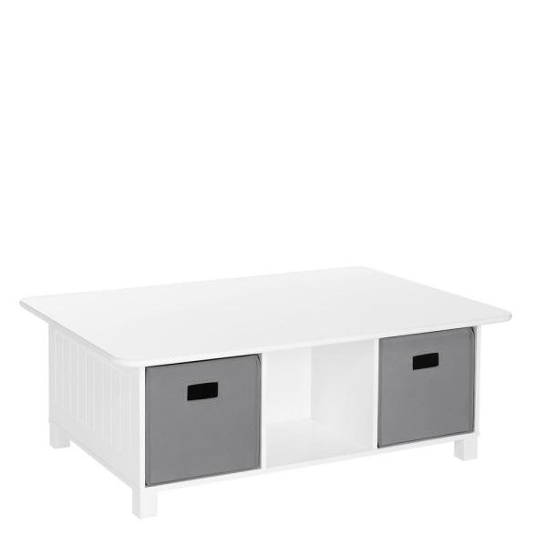 RiverRidge Home Kids White 6-Cubby Storage Activity Table with 2-Piece Gray Bins