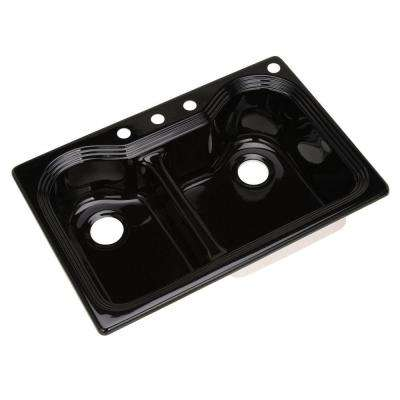 Breckenridge Drop-in Acrylic 33 in. 4-Hole Double Bowl Kitchen Sink in Black