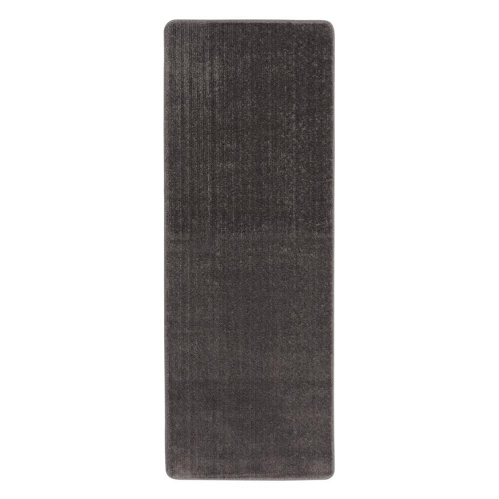 Ottomanson Solid Design Gray 1 ft. 8 inch x 4 ft. 11 inch Non-Slip Bathroom Rug Runner by Ottomanson