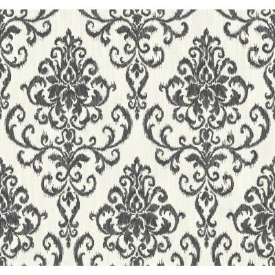 Washed Metallic Pearl and Black Damask Wallpaper