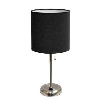 Table lamps lamps the home depot brushed steel stick table lamp with charging outlet base aloadofball Gallery
