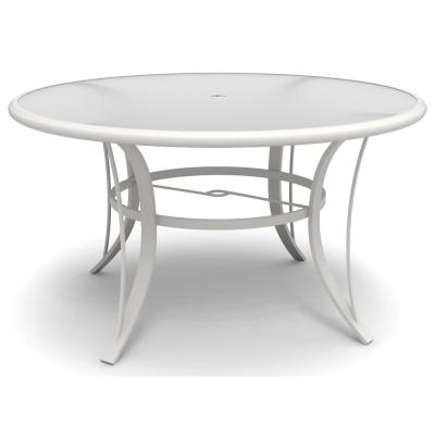 Riverbrook Shell White Round Glass Top Aluminum Dining Table