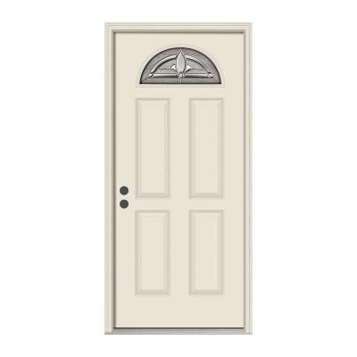 36 in. x 80 in. Fan Lite Blakely Primed Steel Prehung Right-Hand Inswing Front Door w/Nickel Caming and Brickmould