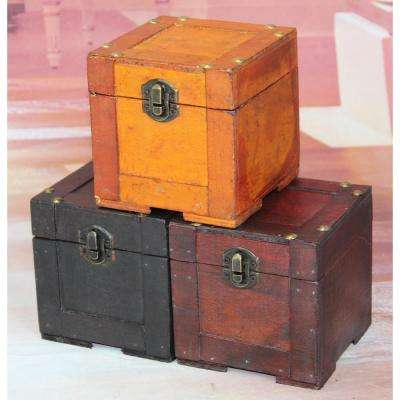 4.3 in. x 4.3 in. x 4.3 in. Mini Storage Chest in Assorted Colors - (Set of 3)