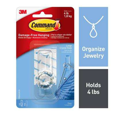 Large Clear Crystal Hooks (1-Hook) (2-Adhesive Strips)