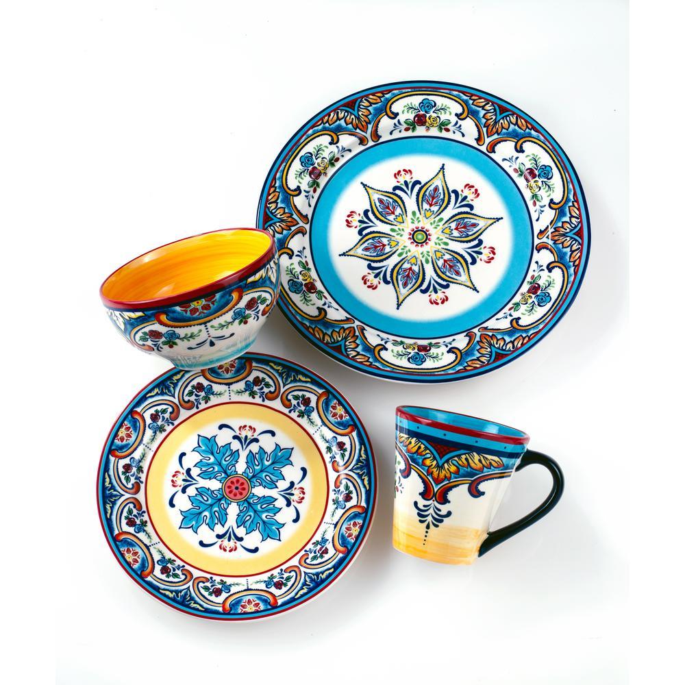 Zanzibar 32-Piece Patterned Multicolor/Spanish Floral Design Ceramic (Service for 8)