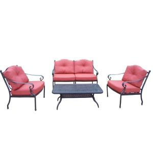 4-Piece Aluminum Deep Seating Chat Set with Loveseat 2 Club Chairs Polyester Cushions and Cocktail Table by