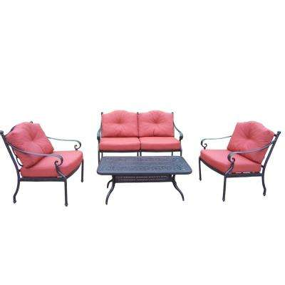 4-Piece Aluminum Deep Seating Chat Set with Loveseat 2 Club Chairs Polyester Cushions and Cocktail Table