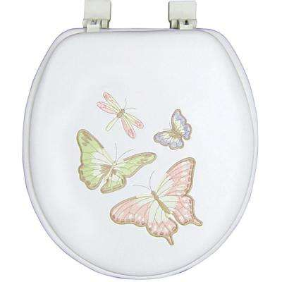 Ginsey Round Closed Front Embroidered Soft Toilet Seat in Shimmer Butterfly