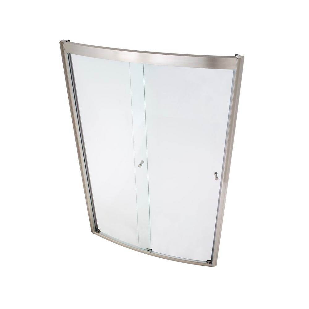 American Standard Ovation 48 in. x 72 in. Semi-Frameless Bypass Shower Door in Satin Nickel and Clear Glass