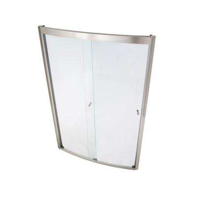 Ovation 48 in. x 72 in. Semi-Frameless Bypass Shower Door in Satin Nickel and Clear Glass