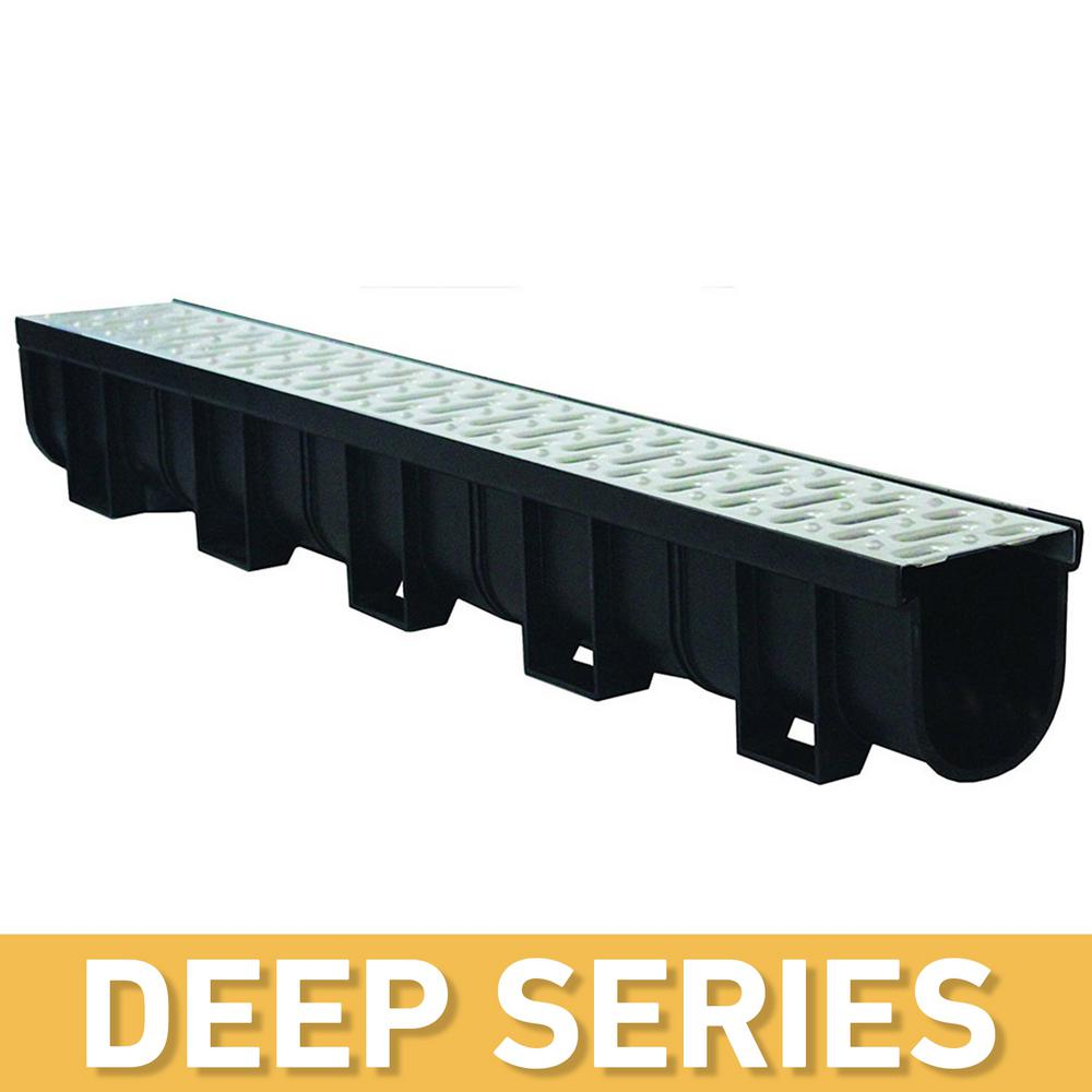 U S  TRENCH DRAIN Deep Series 5 4 in  W x 5 4 in  D x 39 4 in  L Trench and  Channel Drain Kit w/ Stainless Steel Grate