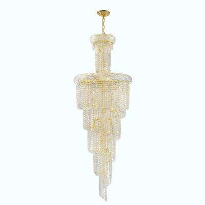 Empire Collection 22-Light Polished Gold and Crystal Chandelier