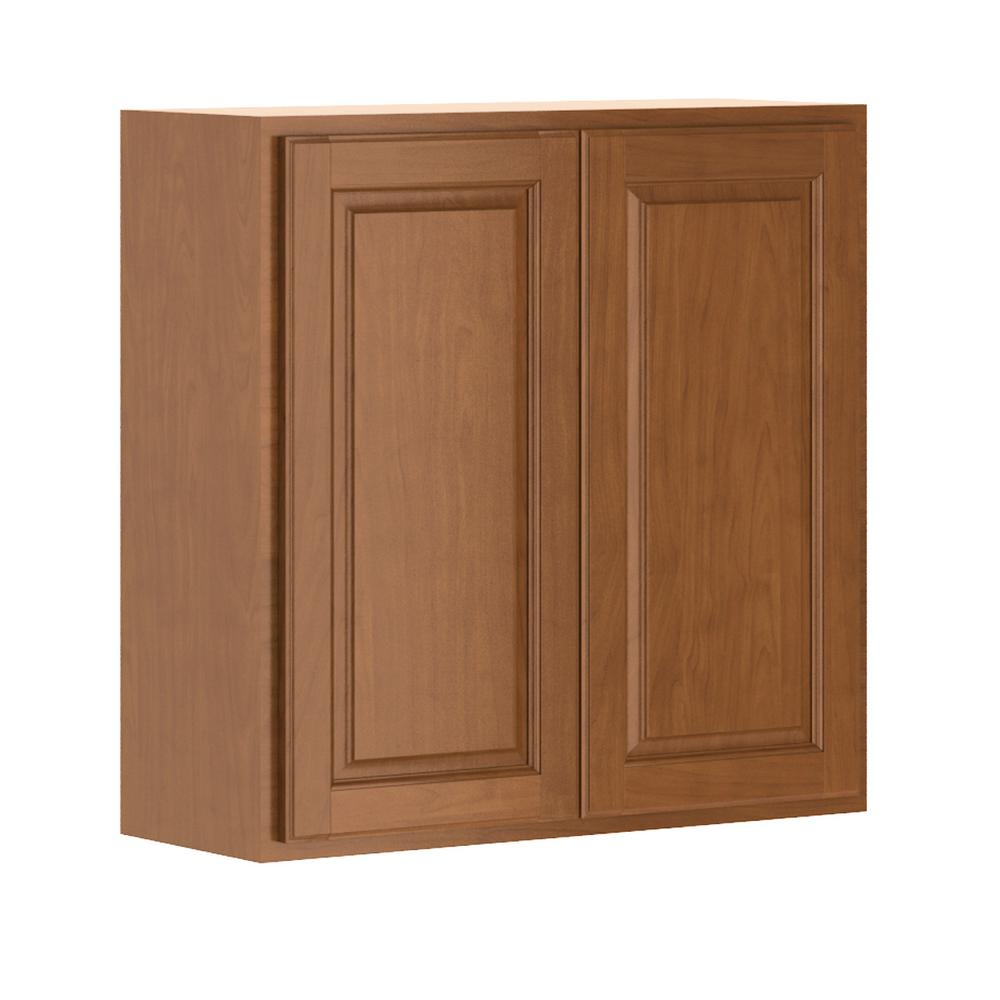 Hampton Bay Madison Assembled 30x30x12 In Wall Cabinet In Cognac W3030 Mcog The Home Depot