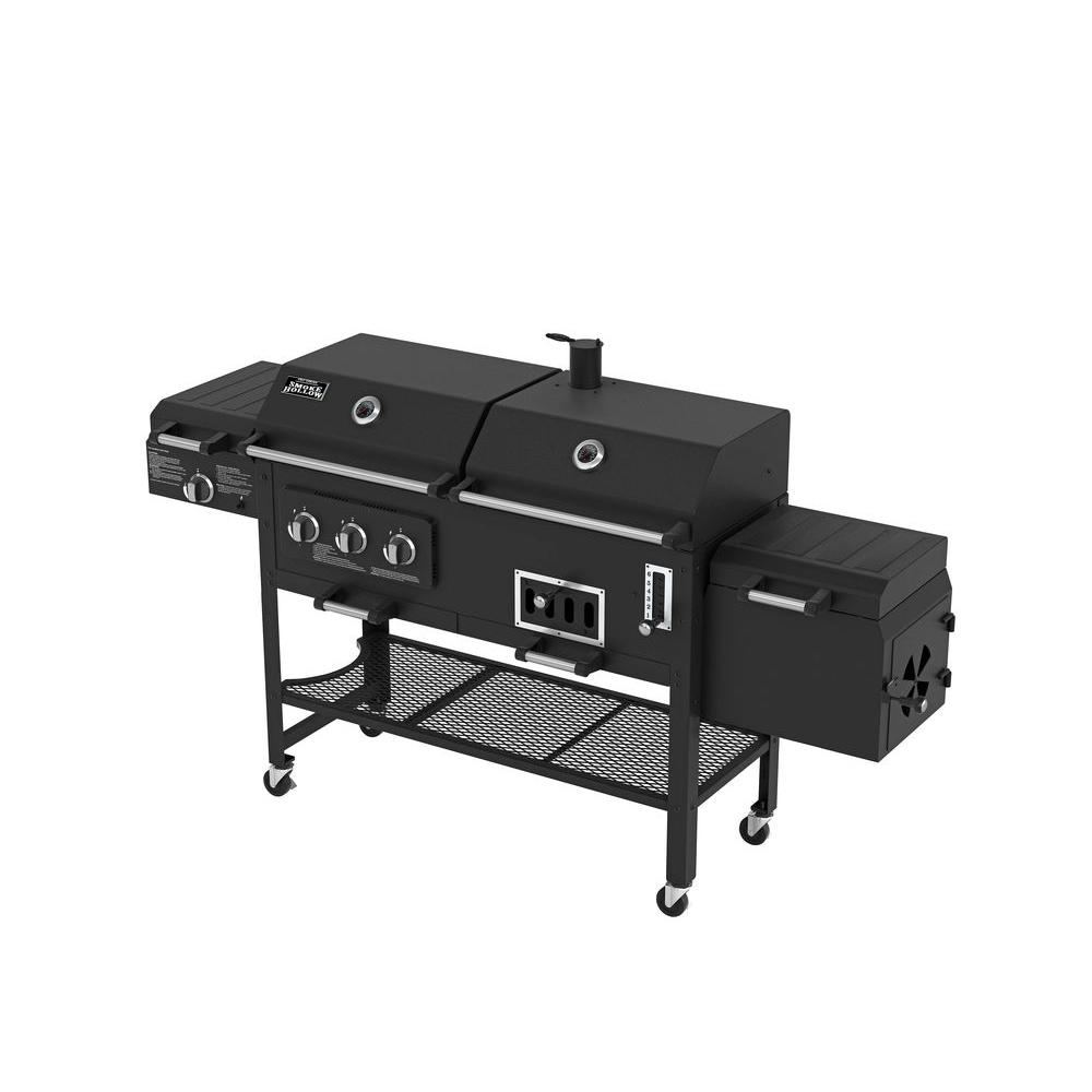 Smoke hollow deluxe 3 burner combination bbq propane gas grill 8500 the home depot - Home depot bbq propane ...