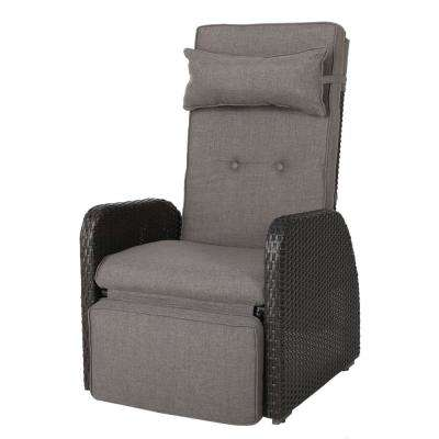 Ostia Brown Wicker Outdoor Recliner with Grey Cushion
