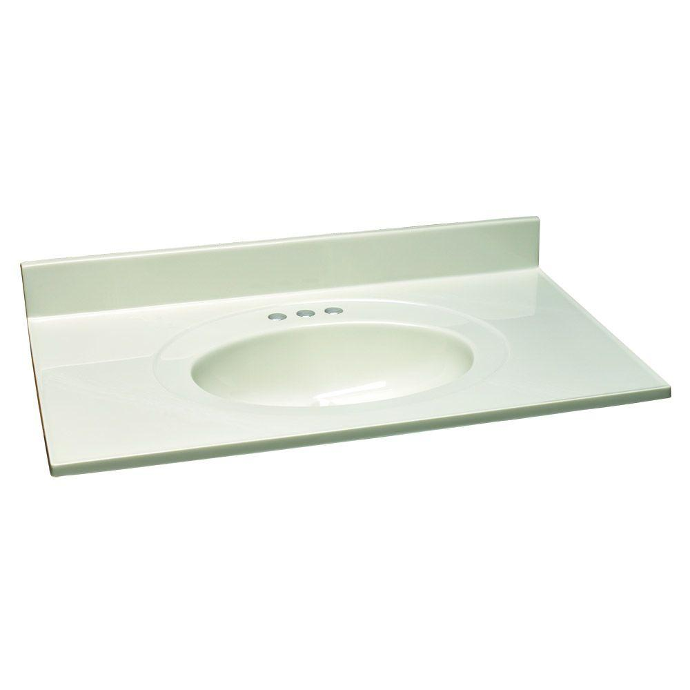 49 in. W Cultured Marble Vanity Top with White on White