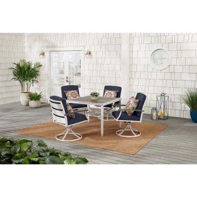 Marina Point White Steel Outdoor Patio Swivel Dining Chair with CushionGuard Midnight Navy Blue Cushions (2-Pack)