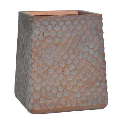 12 in. H Large Patina Grey Composite Inverted Taper Hammered Planter