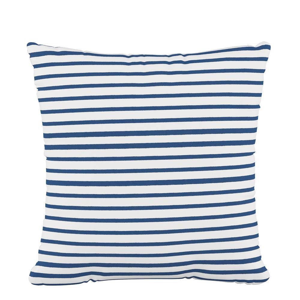 Skyline Furniture 18 in. x 18 in. Fluffed Polyester Nautical Stripe