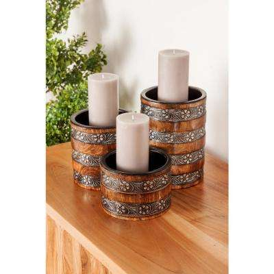 Brown Mango Wood Cylindrical Candle Holder with Floral Band Accents